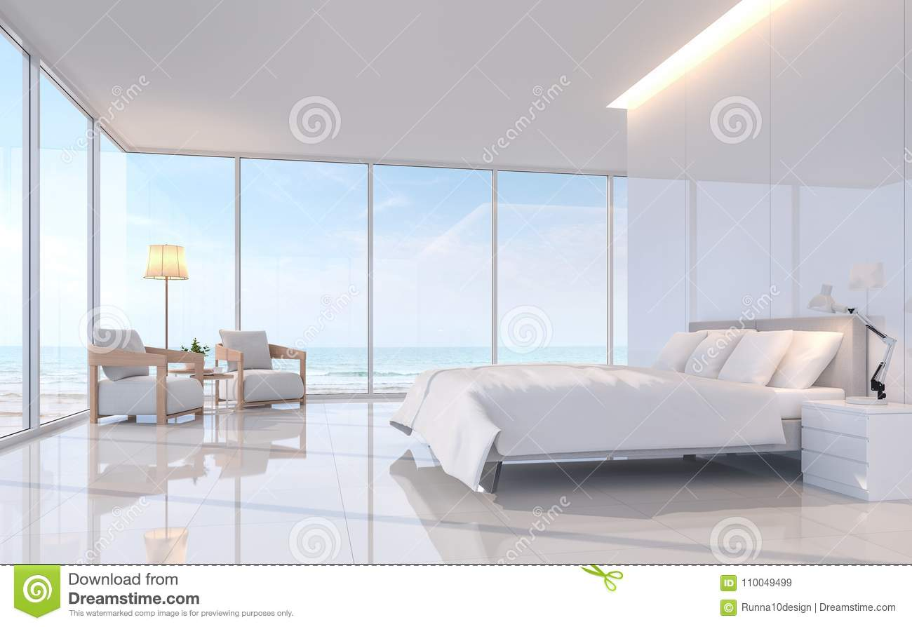 Modern White Bedroom With Sea View 3d Rendering Image. Stock ...