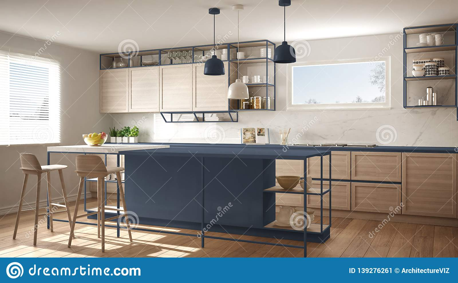 Modern White And Blue Kitchen With Wooden Details And Parquet Floor Modern Pendant Lamps Minimalistic Interior Design Concept Stock Image Image Of Bright Empty 139276261