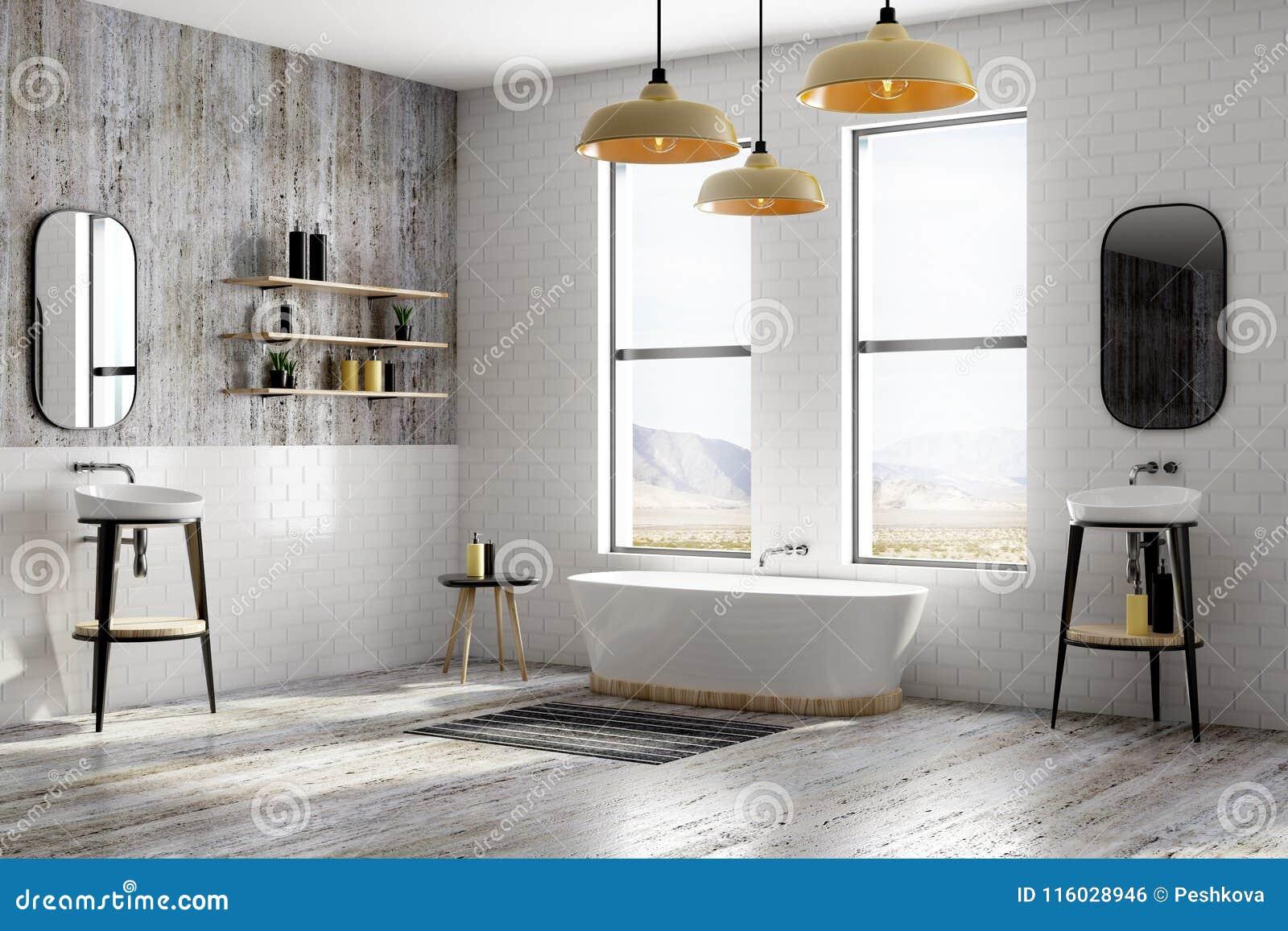 Modern White Brick Bathroom Stock Illustration - Illustration of ...