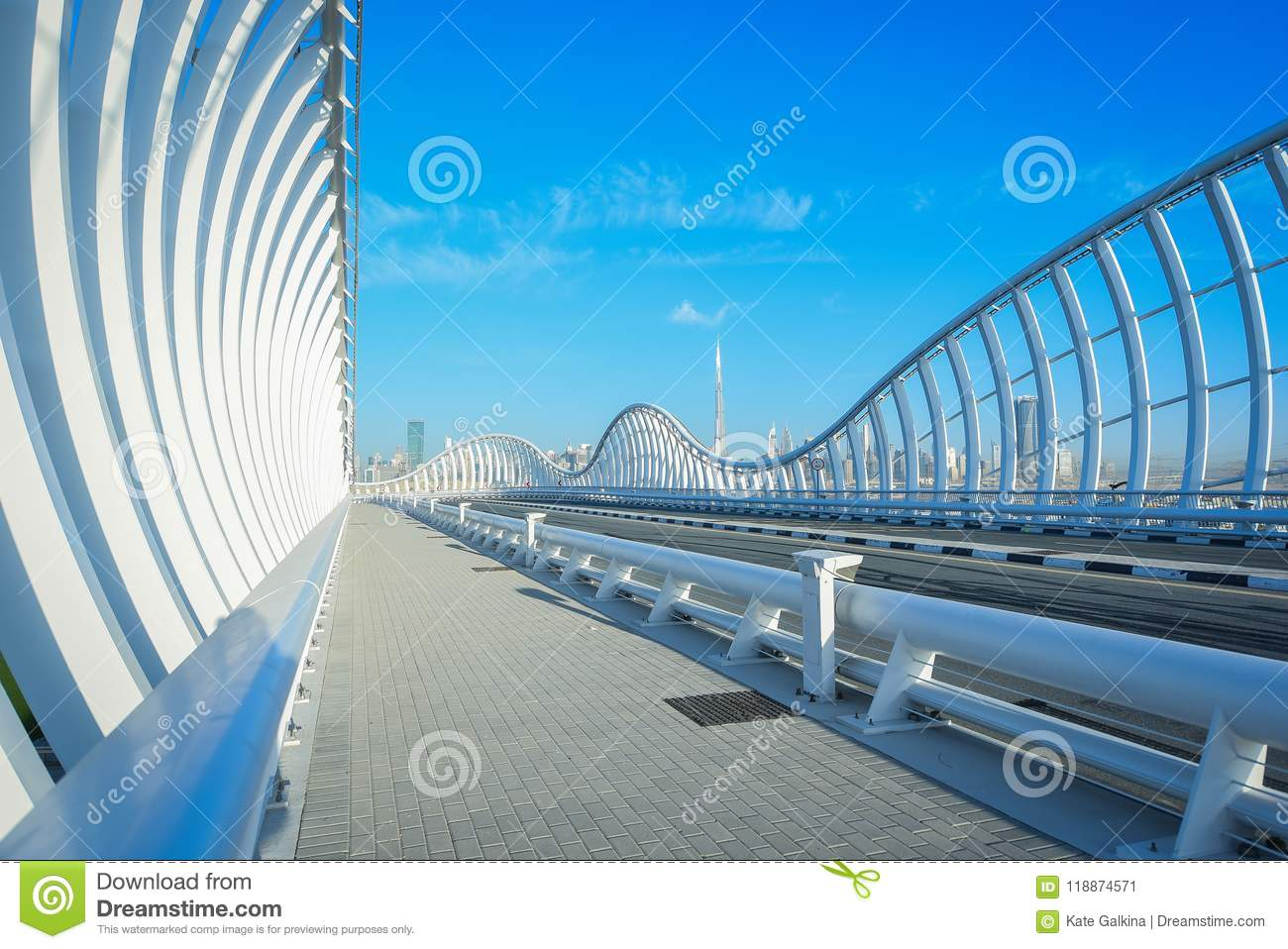 Modern White Bridge In Dubai Stock Image Image Of Modern