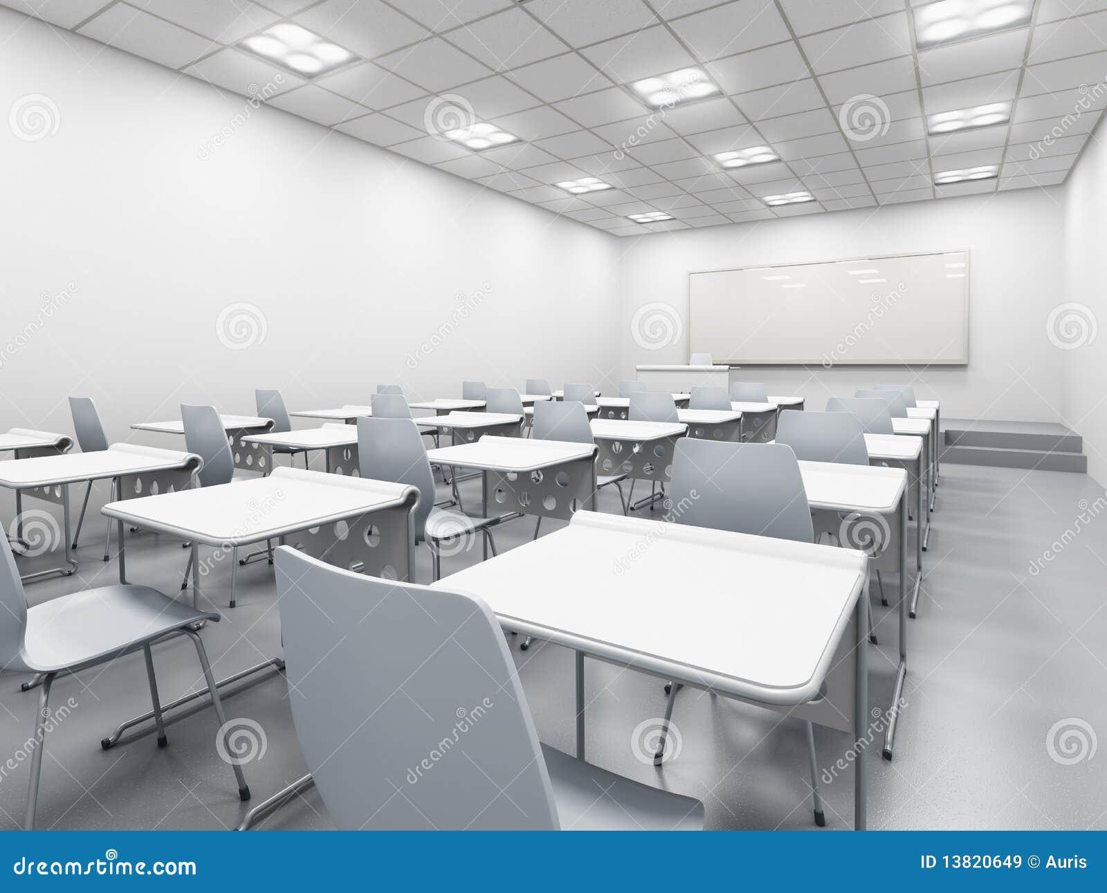 Modern White Classroom ~ Modern white classroom stock illustration of