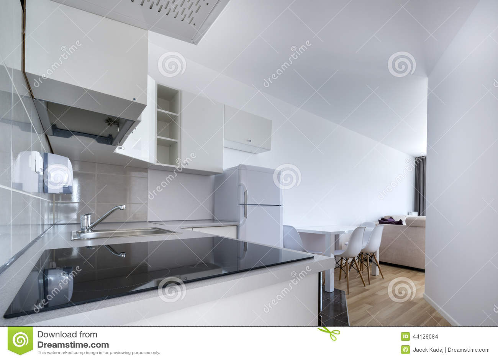 modern, white compact kitchen interior design stock photo - image
