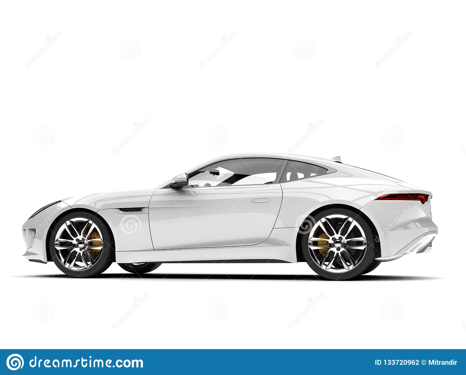 Modern white concept sports car - side view