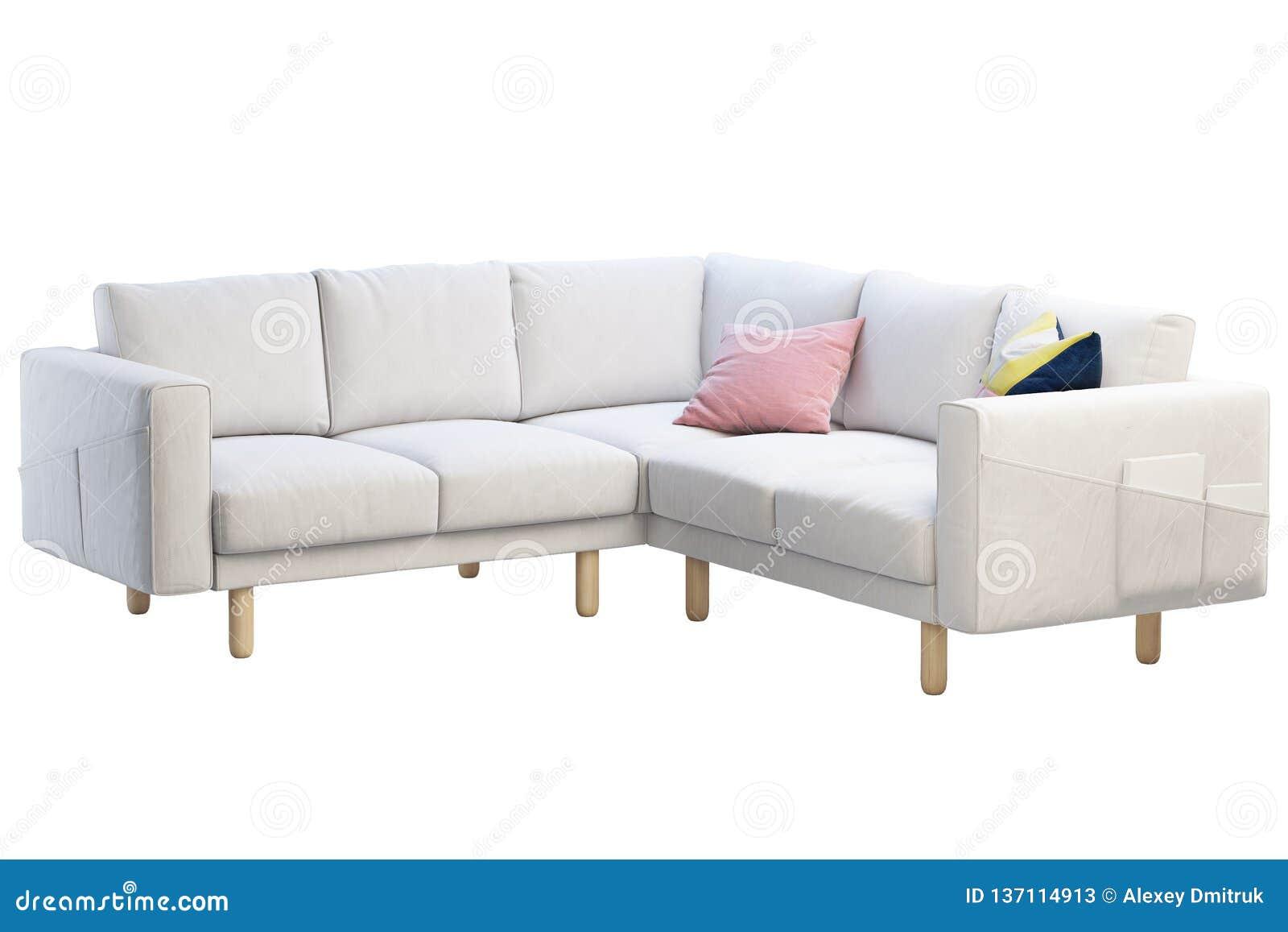 Superb Modern White Fabric Sofa With Colored Pillows 3D Render Machost Co Dining Chair Design Ideas Machostcouk