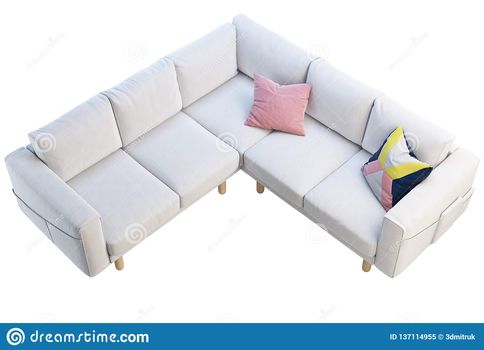 Remarkable Modern White Fabric Sofa With Colored Pillows 3D Render Machost Co Dining Chair Design Ideas Machostcouk