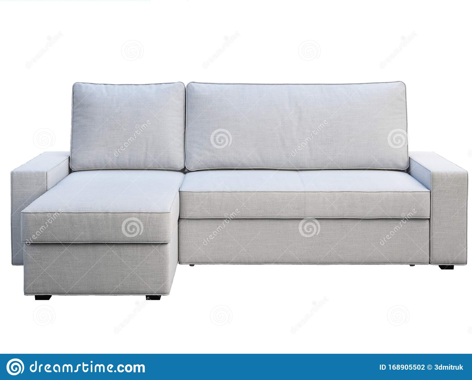 Modern White Fabric Sofa With Chaise Lounge 3d Render Stock Illustration Illustration Of Chaise Lounge 168905502