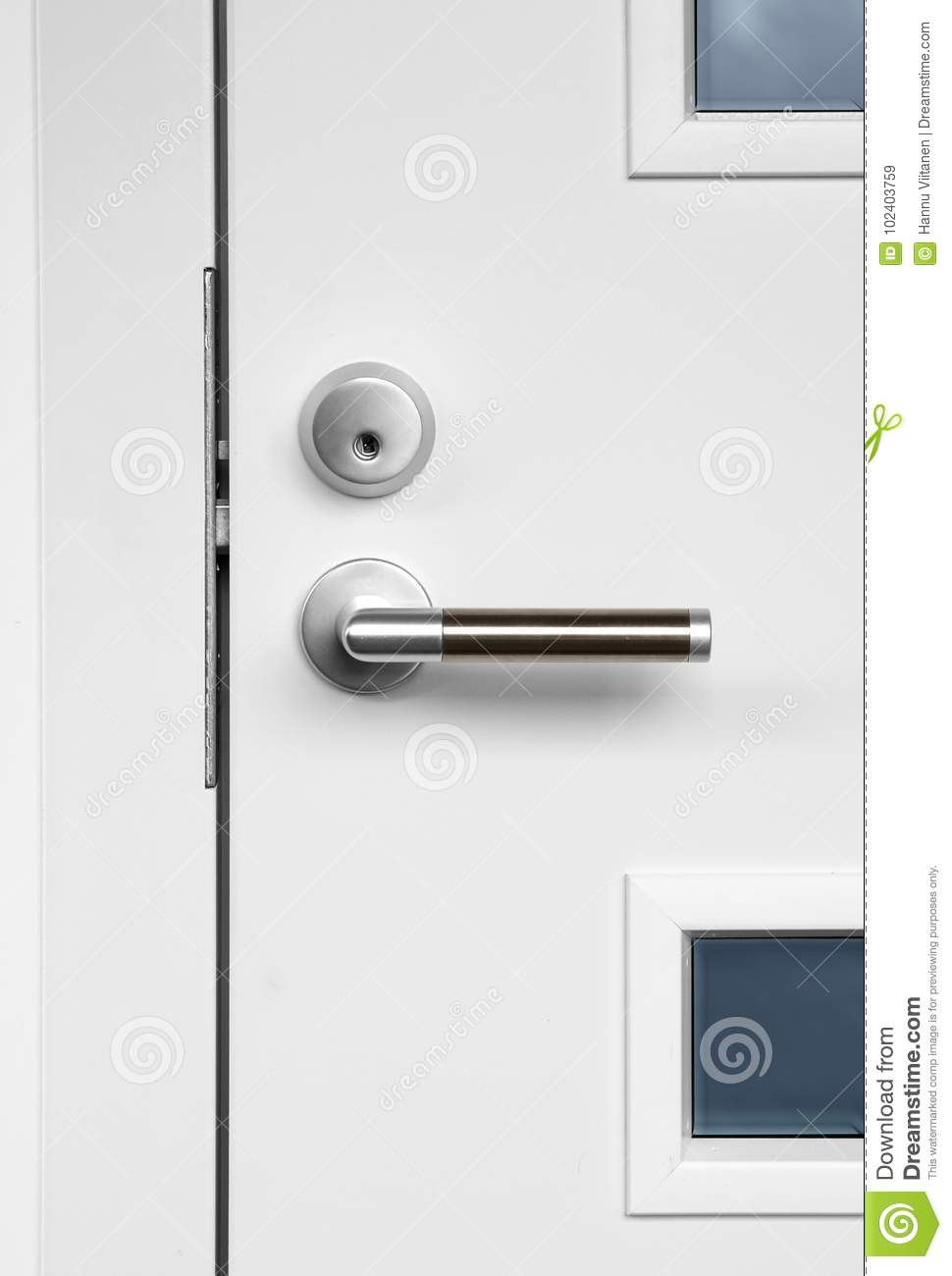 Modern White Front Door Handle And Lock Stock Image Image Of
