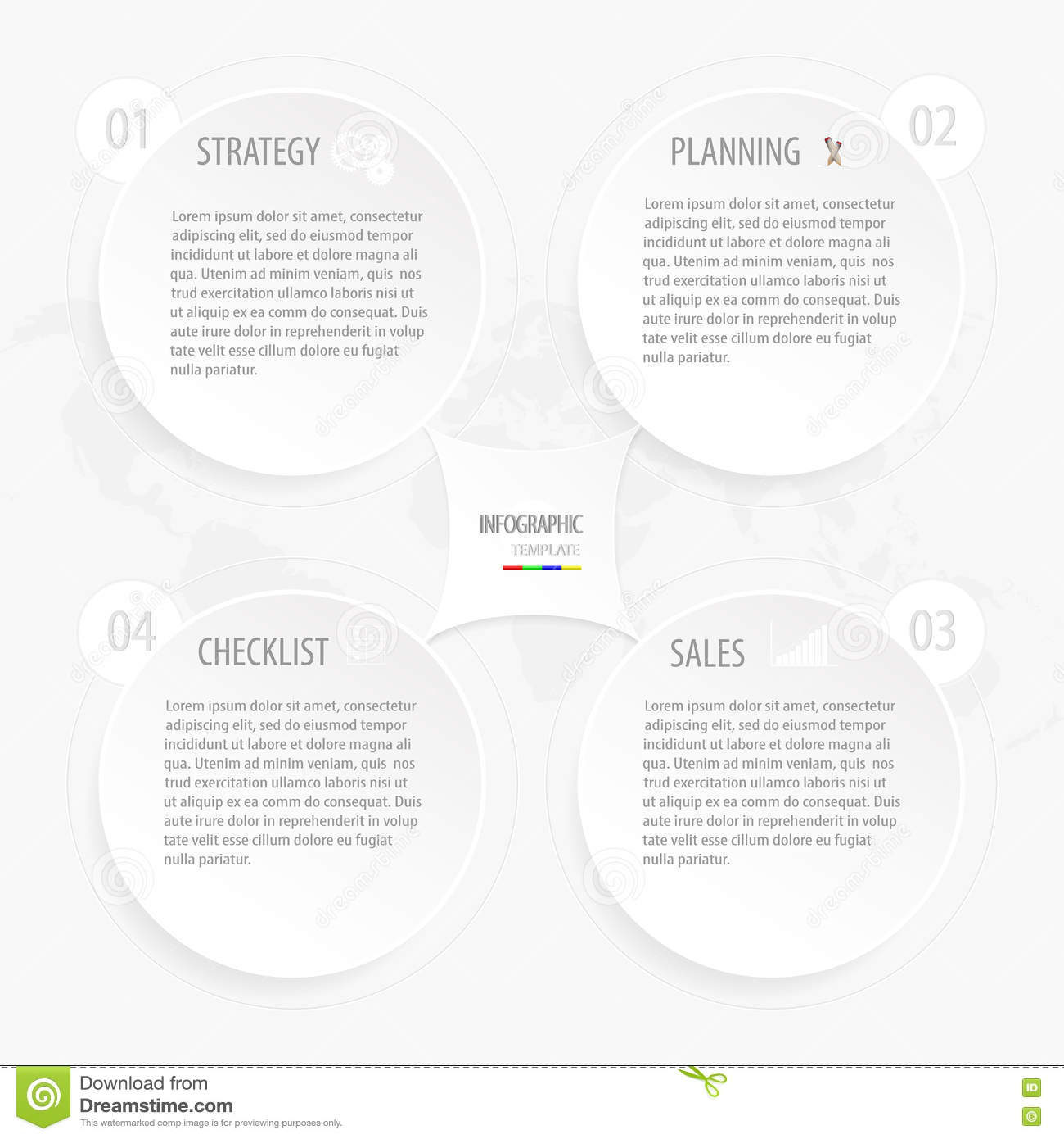 modern white gray circle business infographic template with world