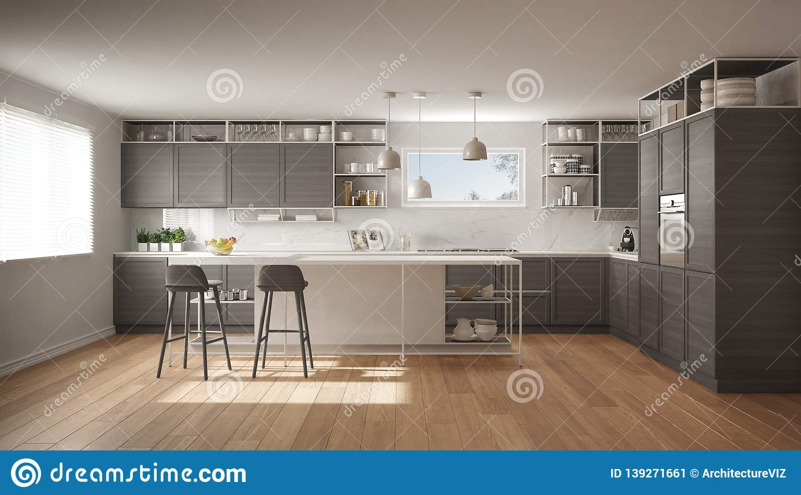 Modern White And Gray Kitchen With Wooden Details And Parquet Floor Modern Pendant Lamps Minimalistic Interior Design Concept Stock Illustration Illustration Of Living Villa 139271661