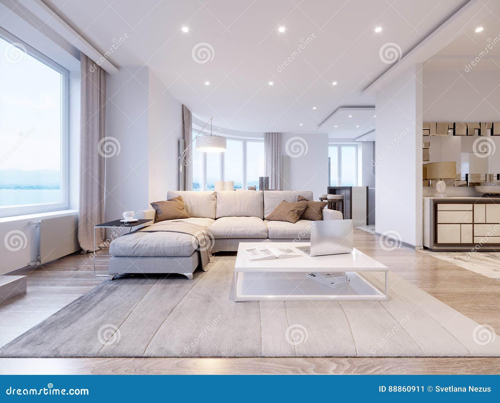 Modern White Gray Living Room Interior Design Stock Illustration ...