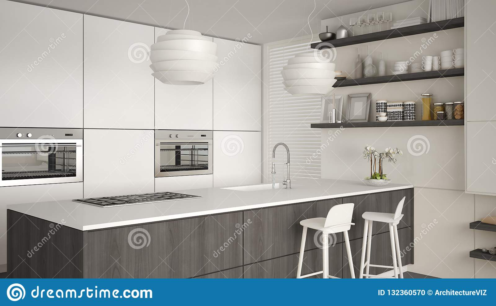 Modern White Gray And Wooden Kitchen With Shelves And
