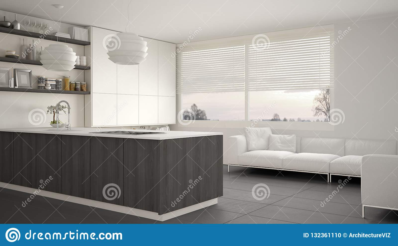 Modern white, gray and wooden kitchen with shelves and cabinets, sofa and panoramic window. Contemporary living room, minimalist a