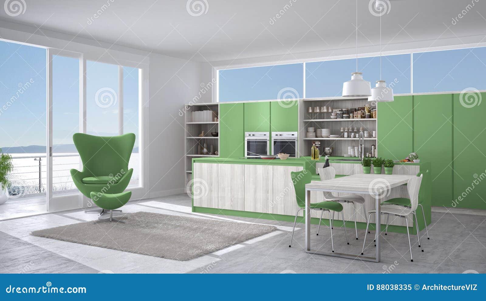 Modern White And Green Kitchen With Wooden Details Big Window W