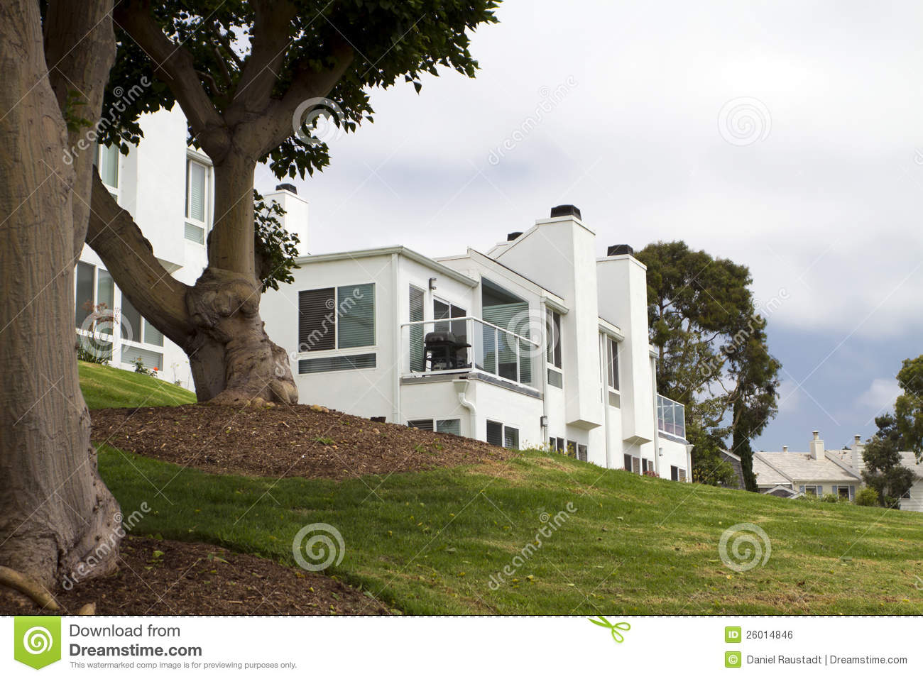 Modern white house on a hill in california stock photo for Modern house on hill