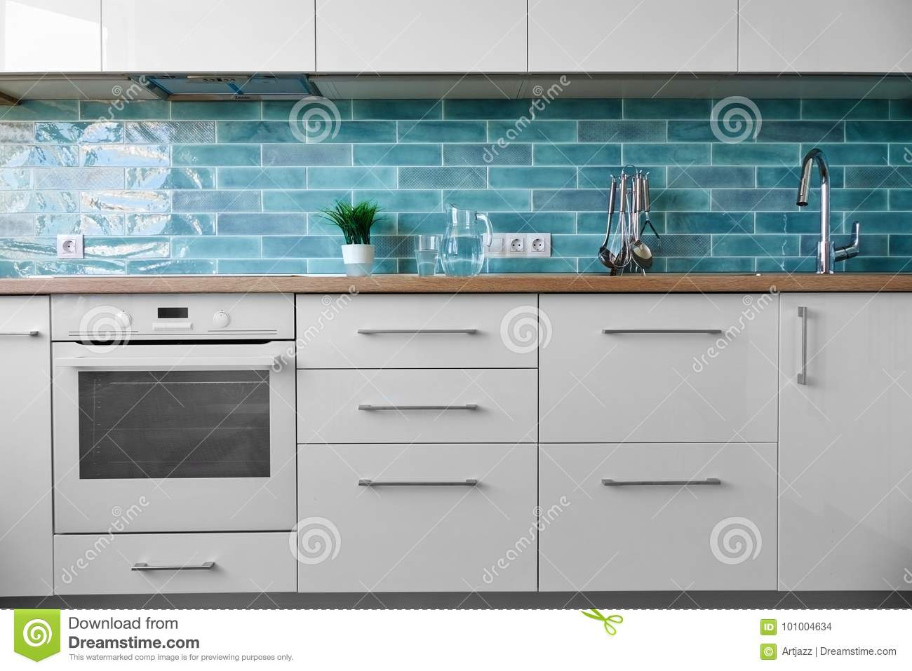 Modern White Kitchen A Background Stock Photo - Image of color ...