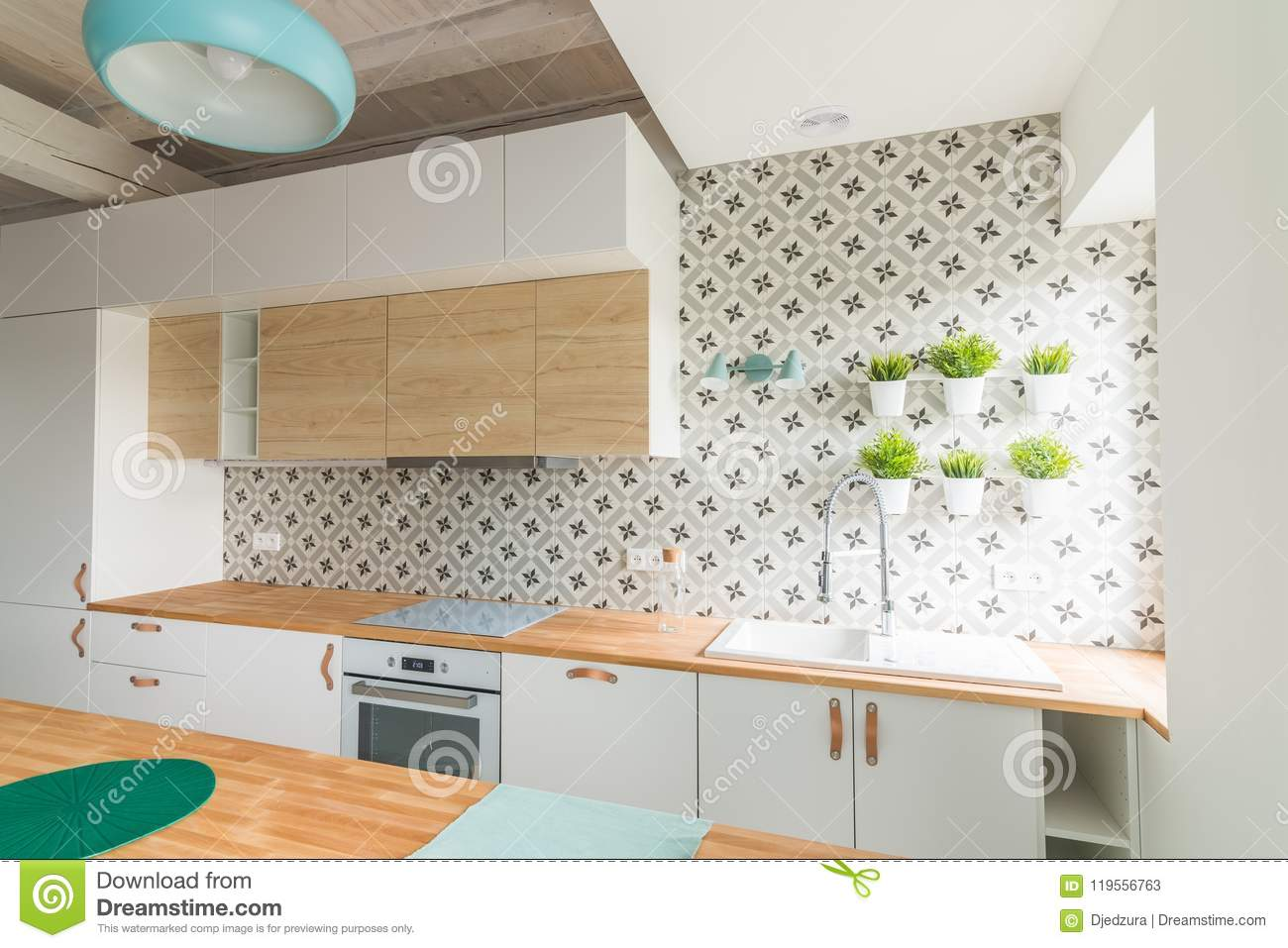 Modern White Kitchen Cabinets With Induction Hob Stock Image Image Of Space Stove 119556763