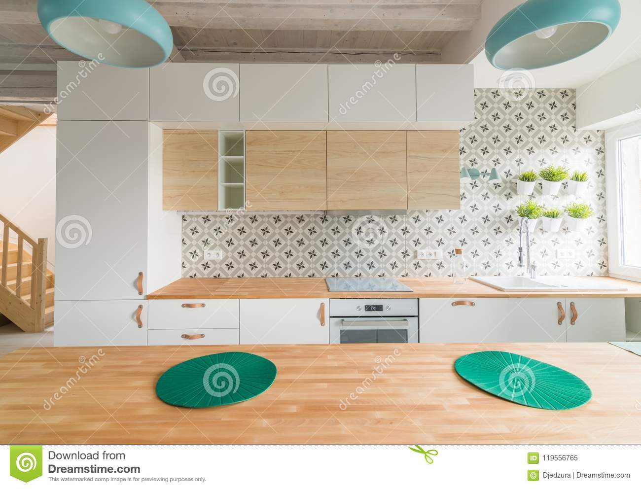 Modern White Kitchen Cabinets With Induction Hob Stock Image Image
