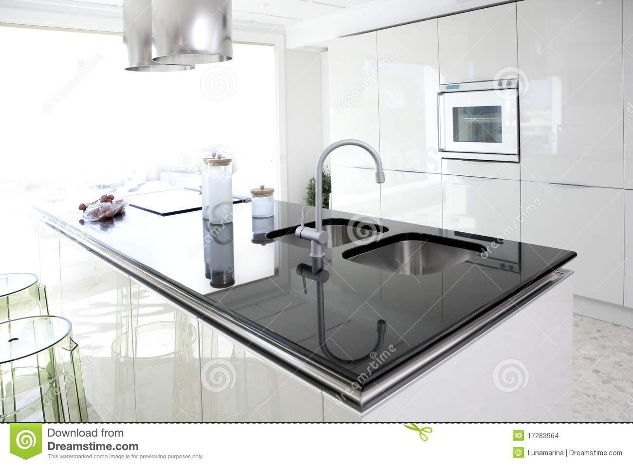 Modern white kitchen clean interior design stock images for Clean interior design
