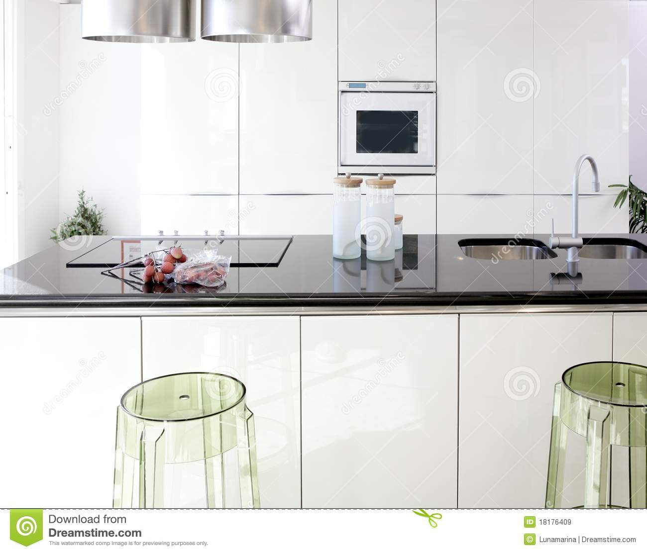 Modern White Kitchen Clean Interior Design Royalty Free