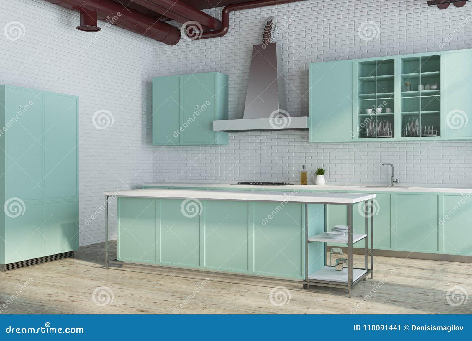 Modern White Kitchen Corner, Green Countertops