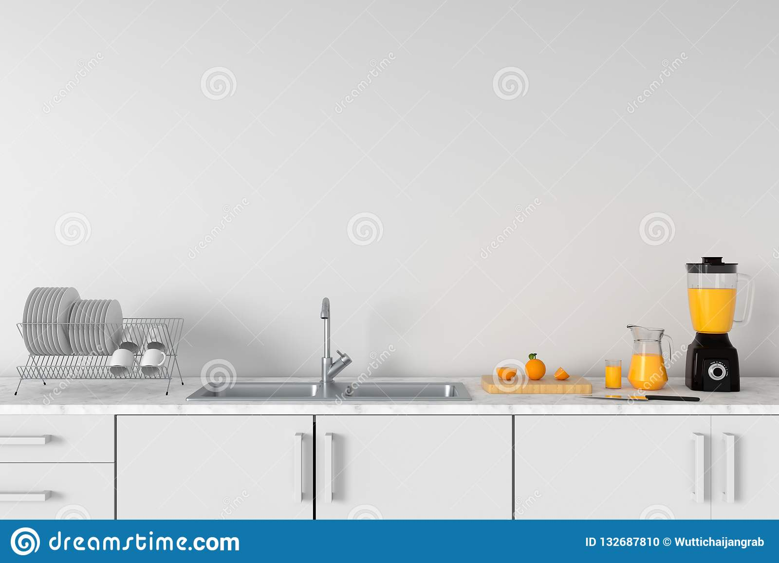 Modern white kitchen countertop with sink, 3D rendering