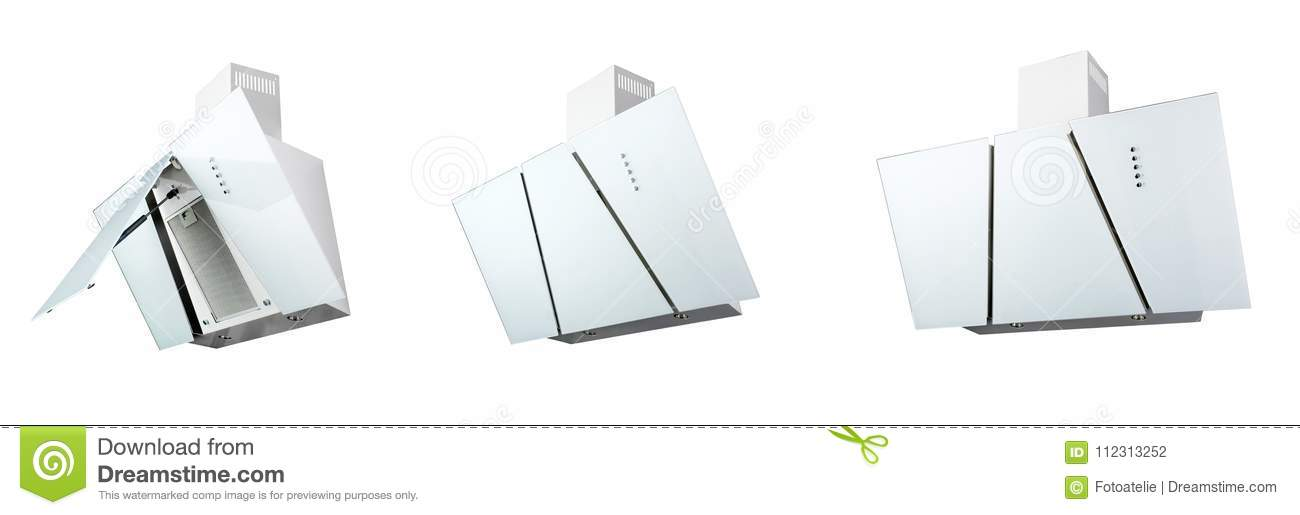 Download Modern White Kitchen Hood, Isolated On White. Three Positions  Stock Photo   Image