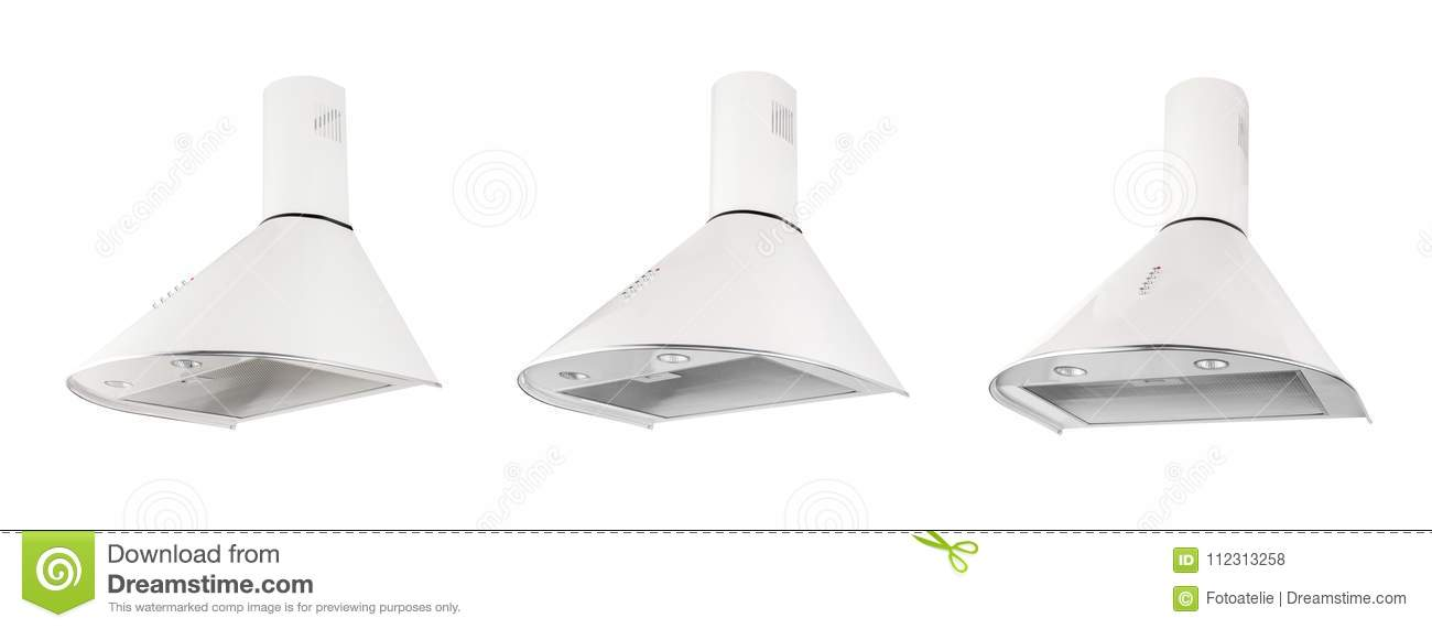 Modern White Kitchen Hood, Isolated On White. Three Positions