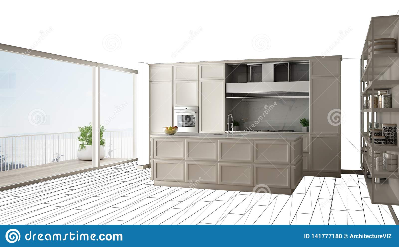 Modern White Kitchen With Island In Contemporary Luxury