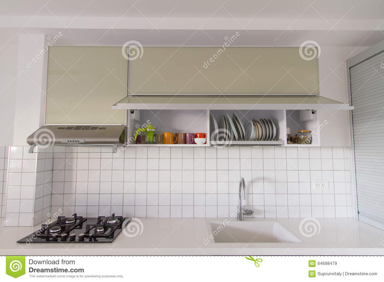 Modern white kitchen stock photo image 64698479 Clean modern interior design