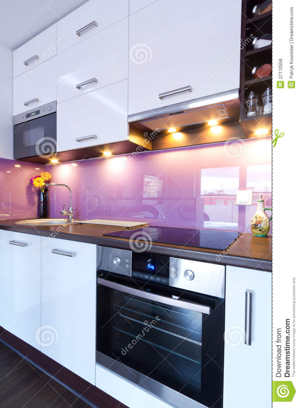 Modern Spotlights For Kitchens Modern White Kitchen With Spotlights Royalty Free Stock Photos