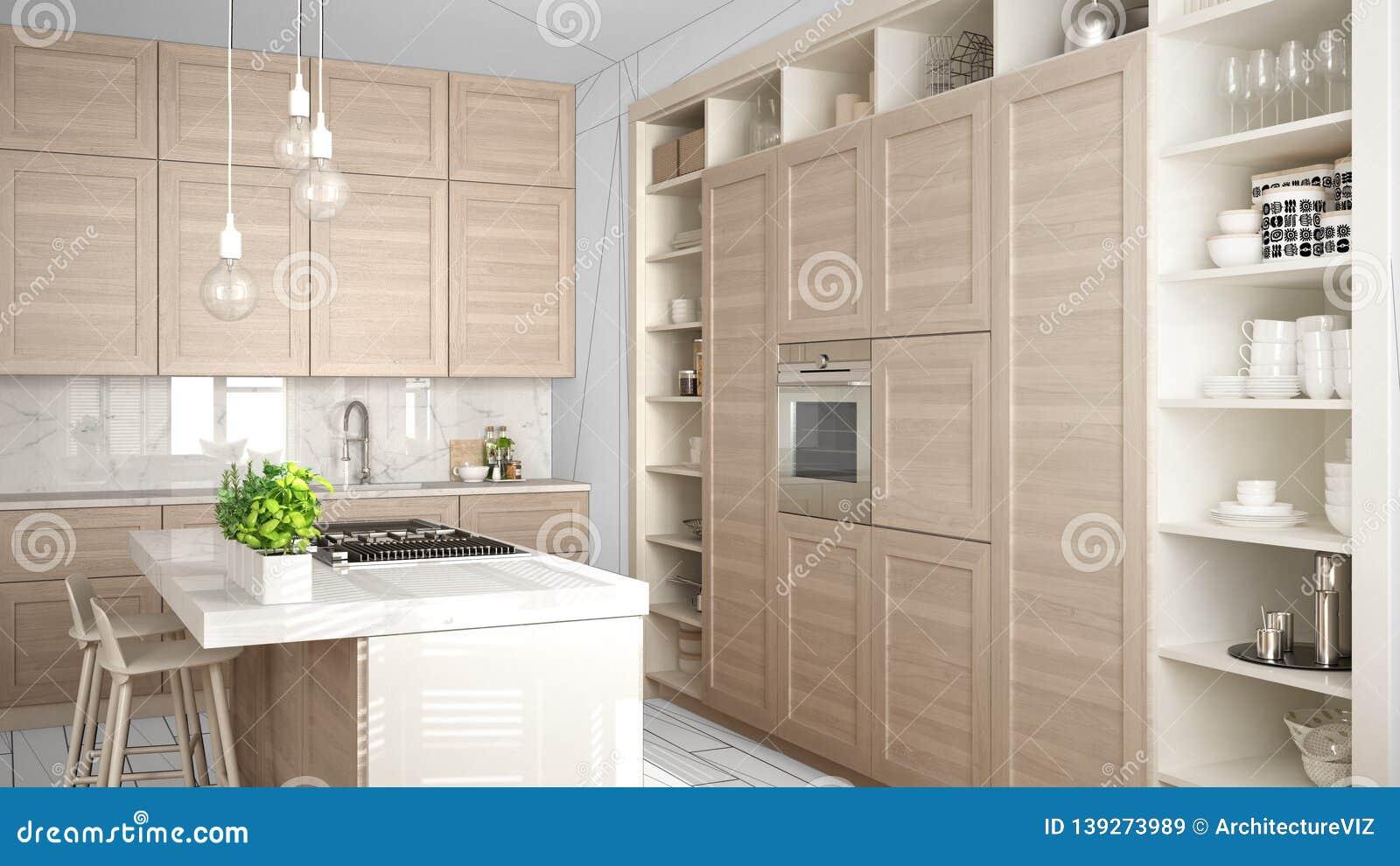 Modern White Kitchen With Wooden Details In Contemporary Luxury