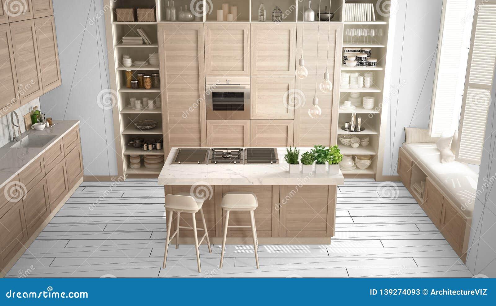 Modern White Kitchen With Wooden Details In Contemporary Luxury ...