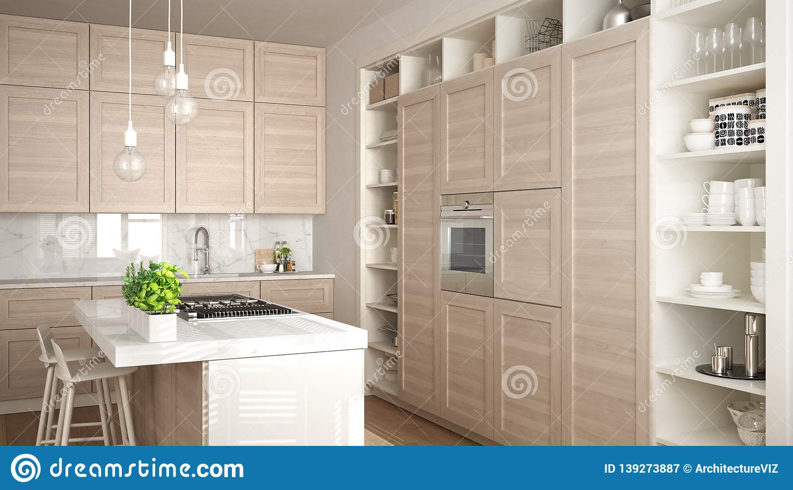 Modern White Kitchen With Wooden Details In Contemporary
