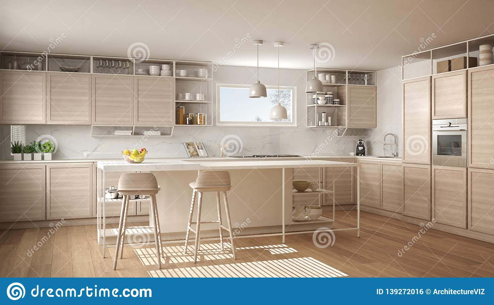 Modern White Kitchen With Wooden Details And Parquet Floor