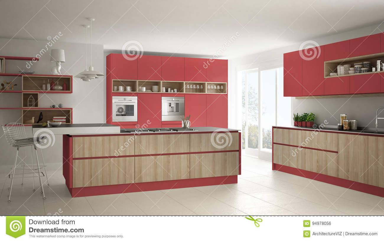 Modern white kitchen with wooden and red details, minimalistic i