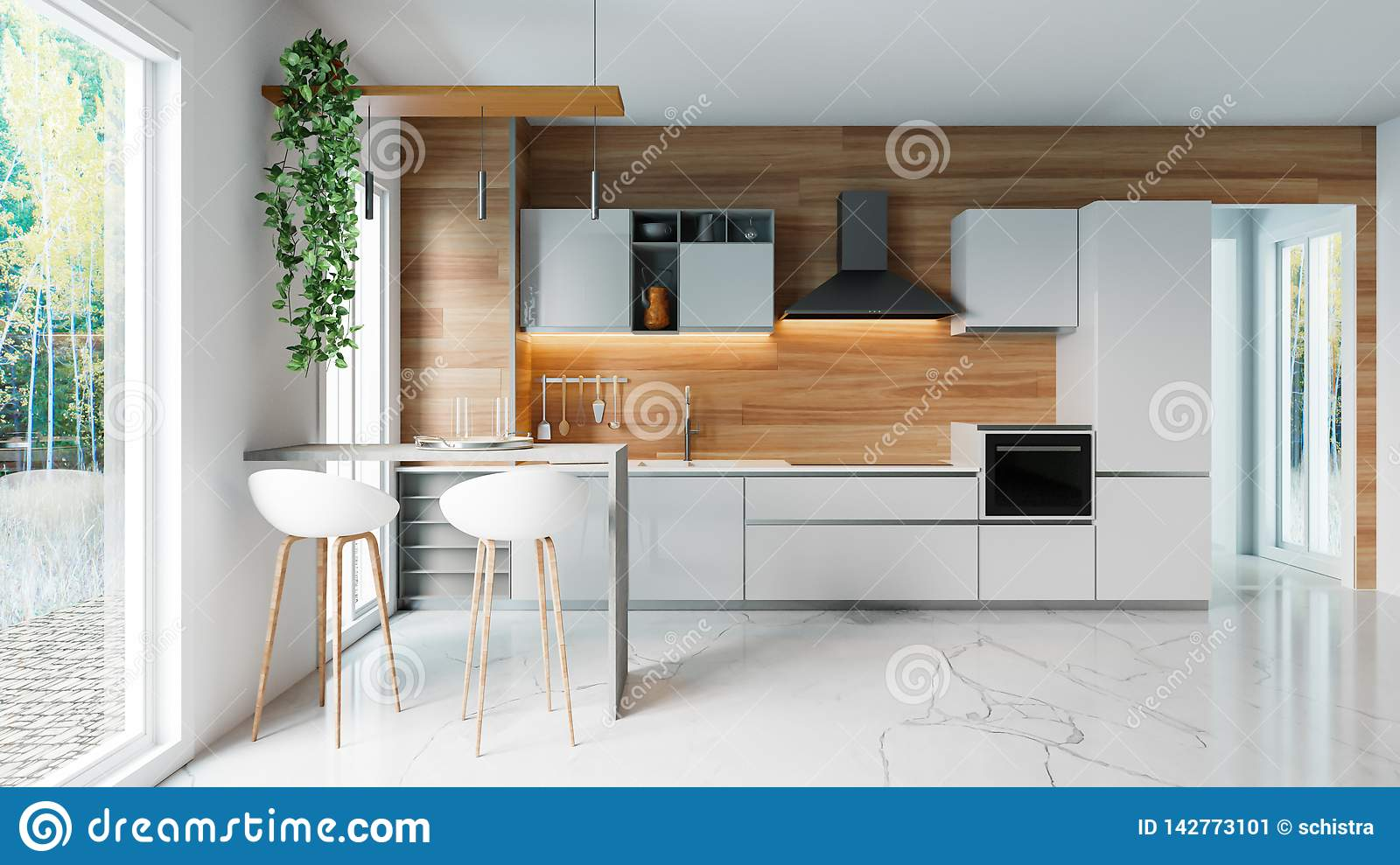 Modern White Kitchen With Wooden Wall And Marble Floor Minimalistic Interior Design Concept Idea 3d Illustration Stock Illustration Illustration Of Decoration Cooking 142773101