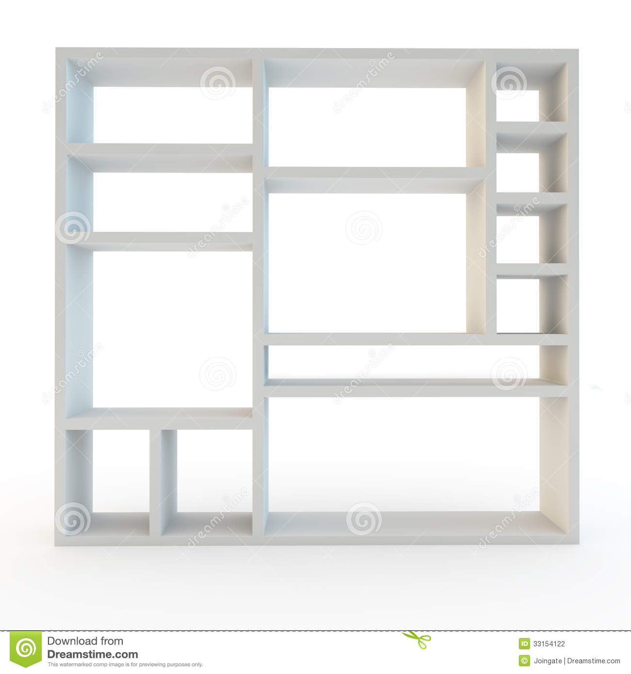 Modern White Laminated Shelving Furniture Unit