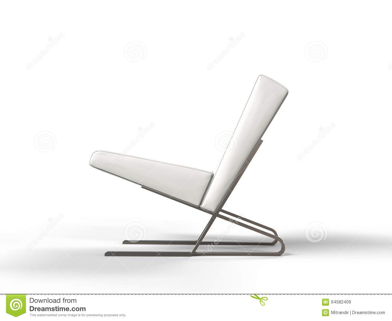 Modern White Leather Armchair - Side View Stock ...
