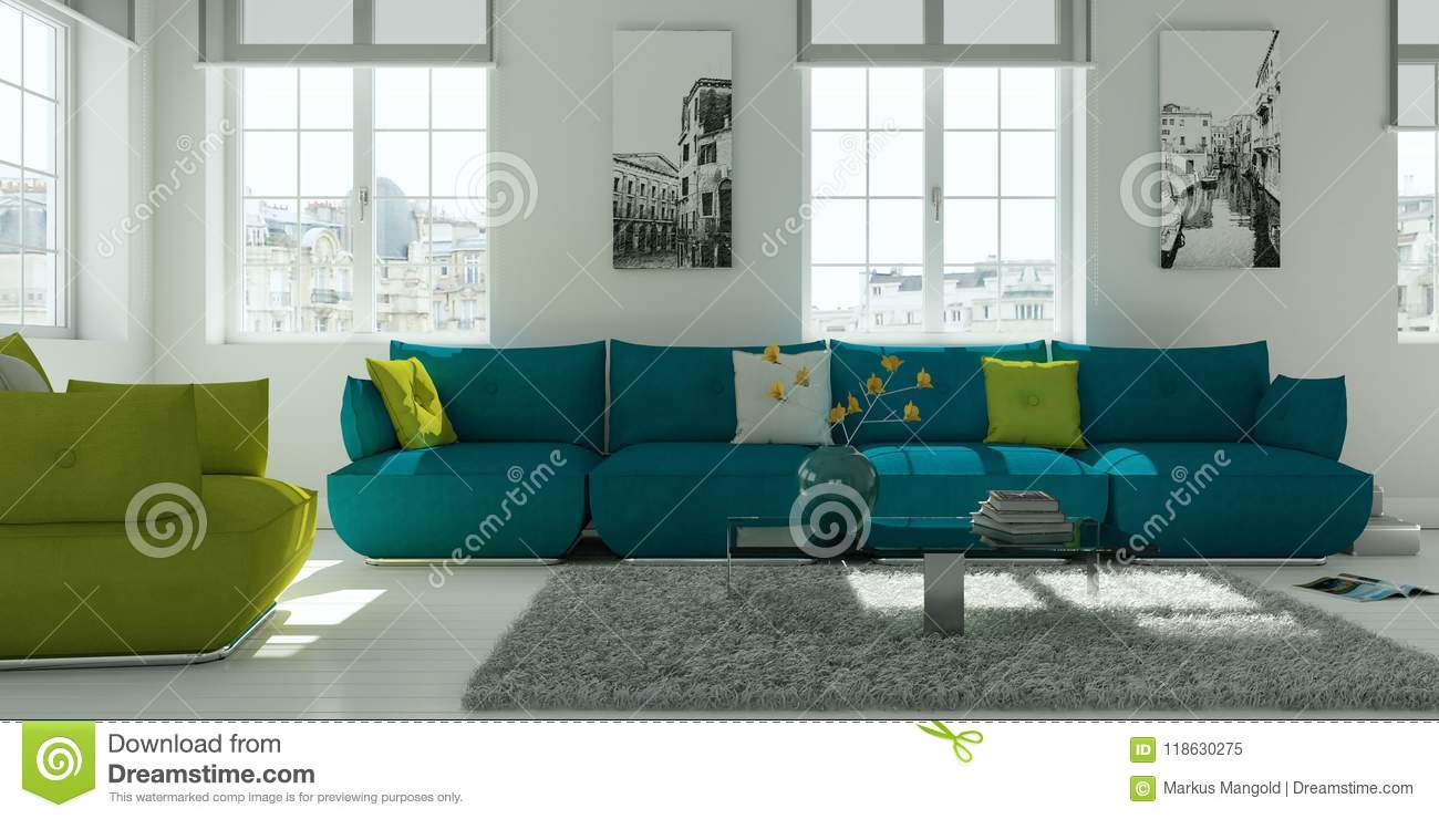 Modern White Living Room Interior Design With Green Sofa Editorial ...