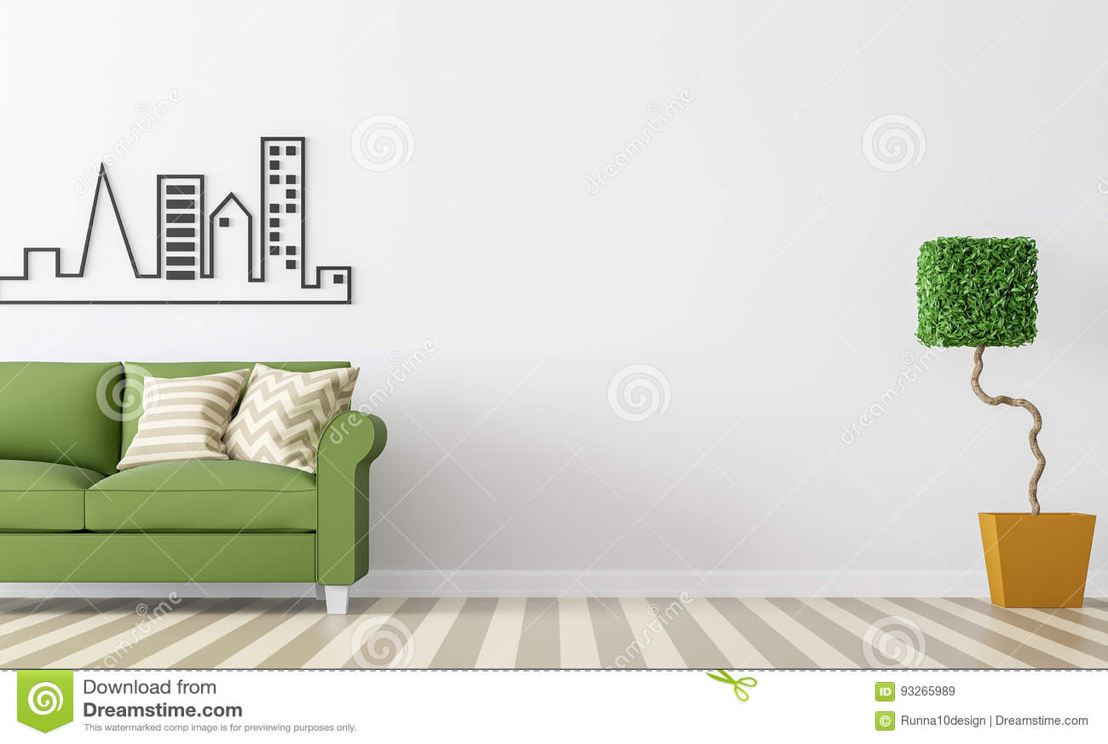 Modern White Living Room Interior With Green Sofa 3d Rendering Image Stock Illustration Illustration Of Imagethere Indoor 93265989