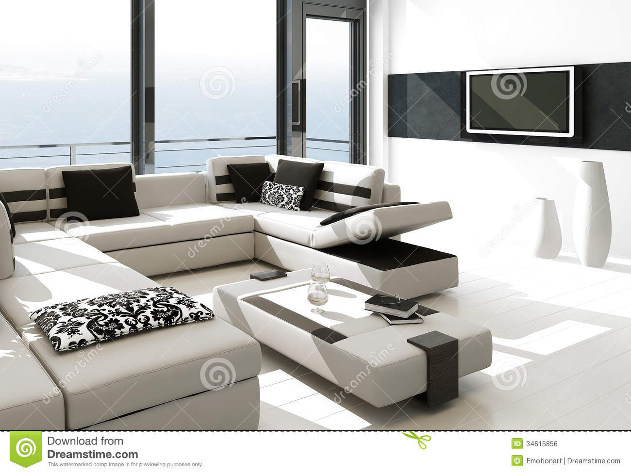 Modern White Living Room Interior With Splendid Seascape View