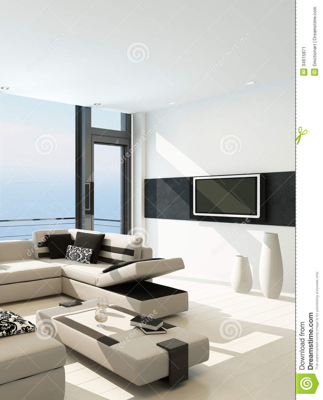 stock image modern white living room interior with splendid seascape