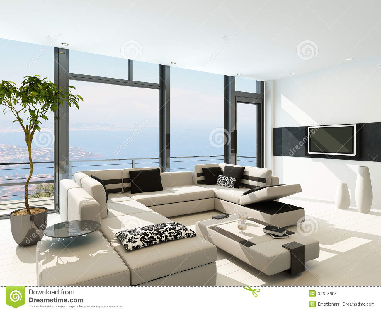 Modern white living room interior with splendid seascape for Decoration de salon interieur