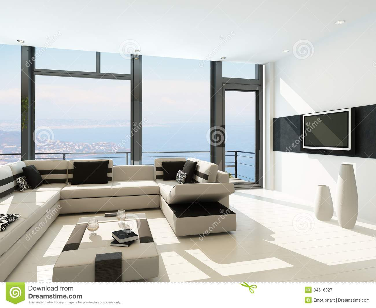 Modern white living room interior with splendid seascape for Modern drawing room interior