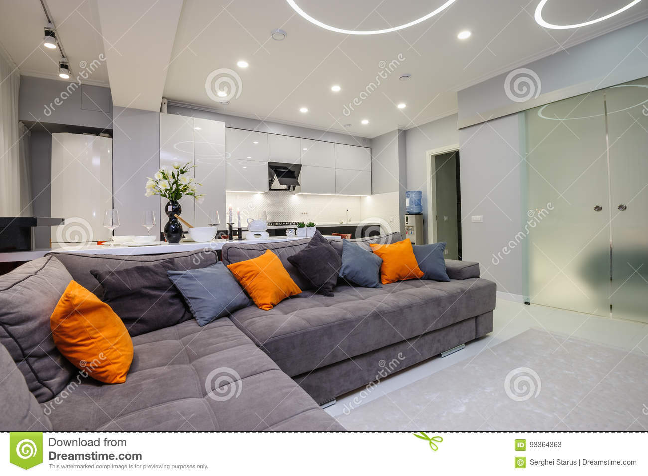 Modern White Living Room And Kitchen Stock Image Image Of Salon