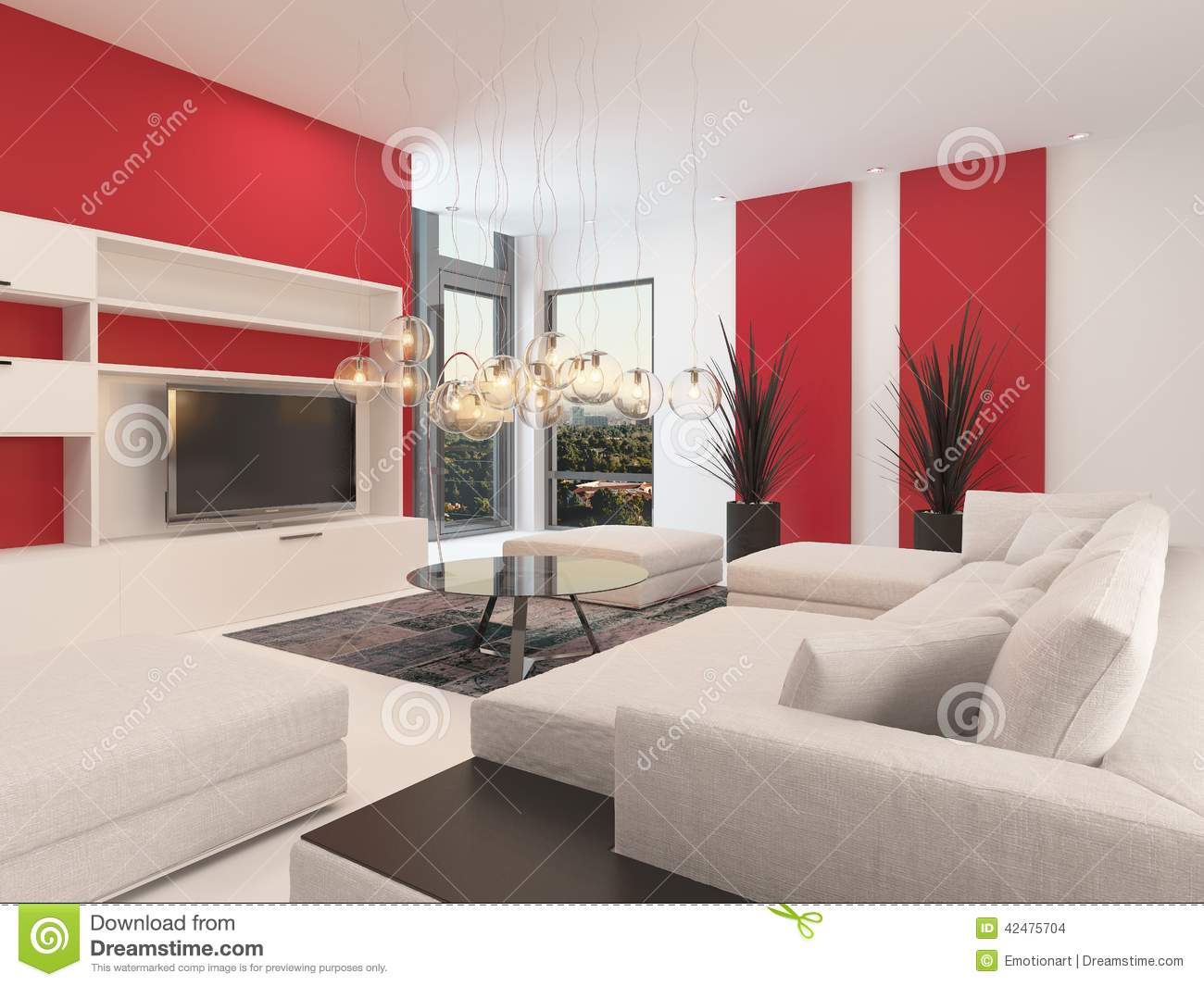 Modern white living room with red accents stock for Modern living room red