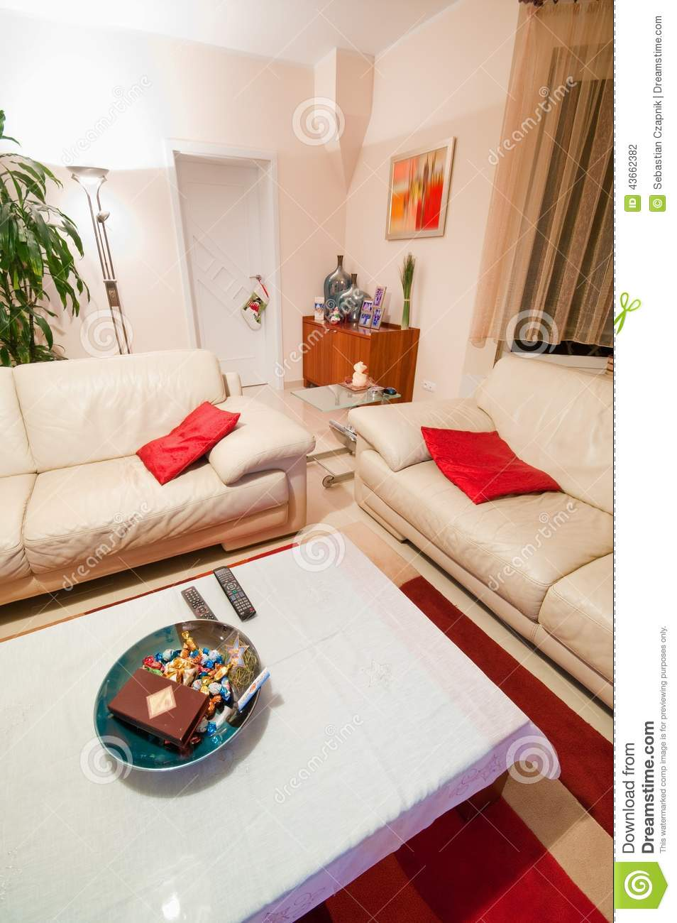 Modern White Living Room With Red Accents Stock Photo ...
