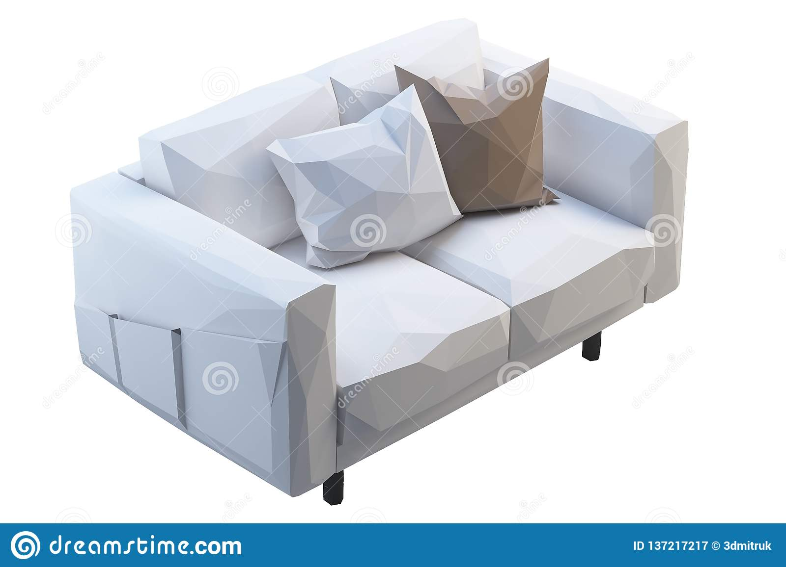 Modern White Low Poly Fabric Sofa With Colored Pillows. 3d ...