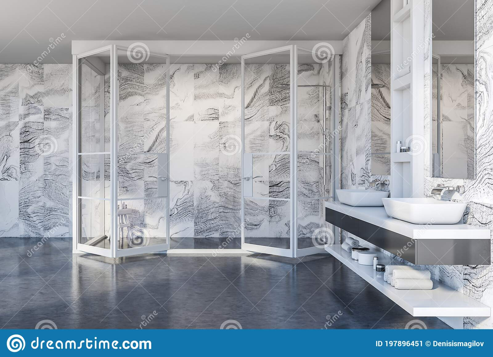 Modern White Marble Bathroom With Sink And Shower Stock Illustration Illustration Of Luxury Health 197896451