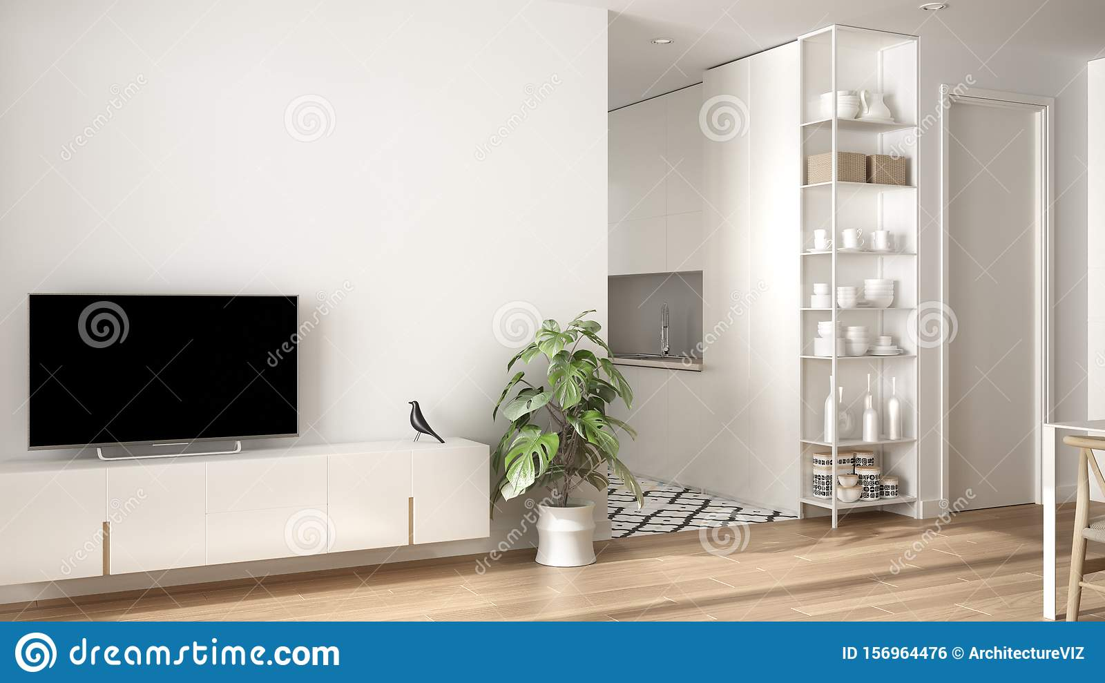 Modern White Minimalist Living Room With Small Kitchen ...